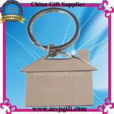 Anello chiave d'argento in bianco del metallo con il marchio di stampa della cupola