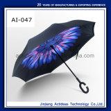 선전용 형식에 의하여 거꾸로 하는 방풍 반전 우산 겹켜 C 훅 거꾸로