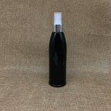 250ml vacian la botella de perfume de plata negra redonda del aerosol del animal doméstico con el aerosol de plata
