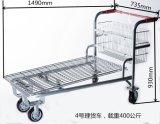 Carro do trole da plataforma de 2017 armazéns com cesta do metal