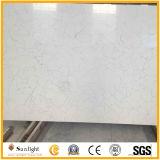 Preiswerter reiner weißer künstlicher Quarz-Stein/Quarz mit Scheinen