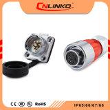 2017 Cnlinko Venda quente DH20 Conector do cabo de Solda Aprovação TUV/UL/CCC do pino 7 do conector DC65/IP IP67 com tampa de borracha