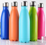 Las botellas de agua Drinkware tipo y de doble pared de acero inoxidable, material metálico 750ml botella de oleaje