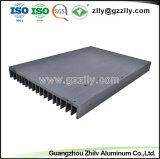 Extrusión de aletas de aluminio anodizado negro disipador de calor con ISO9001