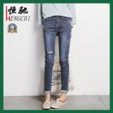 Venda quente moda jeans mulheres Skinny simples danificado