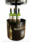 Cremagliera di piastra metallica rotonda a 3 strati in modo bello progettata del vino del banco di mostra del liquore