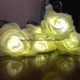 Lumières de lumières de Noël commerciales et de fleurs artificielles d'étalages