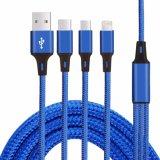 2.1A 3 trenzados de nylon en 1 cable de datos de carga rápido del cable del USB del teléfono móvil