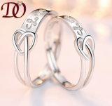 Anillo de plata de la bodas de plata del corazón del amor del anillo 925
