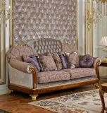 Sofá real clásico de la tela de madera sólida del color oscuro 0038