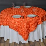 新しいデザイン結婚式または党または誕生日の方法オーガンザおよびロゼットのテーブルクロス表オーバーレイ
