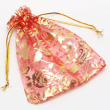 ローズの好意のオーガンザのギフト袋と結婚する優雅なオーガンザのドローストリングの宝石類の袋