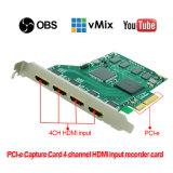 PCI E4h HDMI 영상 회의 캡처 카드 1080P/60 Vmix/Xsplit/Vlc/Virtualdub/Vidblaster/Obs 살아있는 흐르기 게임 비디오 녹화기 및 스위처 카드