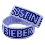 Debossed는 잉크 실리콘 팔찌 Justin Bieber 팬 소맷동을 채웠다