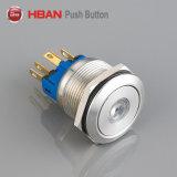 22mmのステンレス鋼防水LEDの瞬時の照らされた金属の押しボタンスイッチ