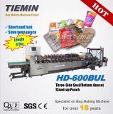 Tiemin 자동적인 고품질 속도 3 물개 밑바닥 삼각천 서 있는 주머니 기계 600bul PLC 유연한 박판으로 만들어진 일괄 가격 밥 또는 차 또는 음식 또는 커피 또는 포도주 부대