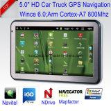 """Táctil capacitiva de 5,0""""Alquiler de carretilla Marine, navegación GPS con Wince navegador GPS, Bluetooth, transmisor de FM, AV-en la cámara trasera, sistema de navegación GPS de mano"""