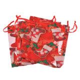 Sacchetto cosmetico riutilizzabile del Organza di natale del Organza del Drawstring di modo su ordinazione del sacchetto (COB-1125)
