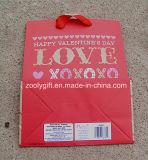 Sacos de papel do feriado do amor do Glitter do saco do presente do papel de impressão do dia do Valentim feliz feito sob encomenda