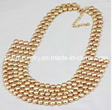 El verano de la moda de joyería /2013 Material de aleación de zinc con cordones Acyrlic chapado en oro Metal Collar de cordón Ecológico (PN-084)