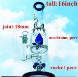 Tubo de agua de cristal del nuevo del diseño de Handblown del Borosilicate de la alta calidad del tubo de la corona del percolador del color del tazón de fuente del arte del cenicero arte de cristal alto recto del inventario