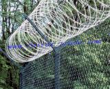 有刺鉄線と囲うチェーン・リンク