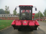 큰 곡물 탱크를 가진 4개의 줄 옥수수 추수 기계