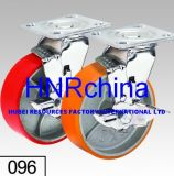 Roter PU-Schritt-Schwenker mit Bremsen-Platten-Oberseite-Fußrolle