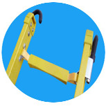 (375LBS) 35kv Yellow Fiberglass 단 하나 Side Grooved Rail Extension Ladder