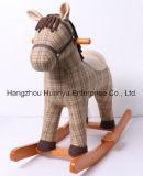 & De madeira estilo Horse-Vintage basculante de pelúcia