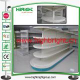 Scaffalature della gondola del metallo del supermercato per le estetiche con la lampada superiore del LED
