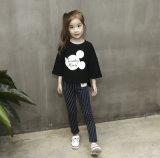 四分の三の袖円形カラーMickey Haedの女の子のTシャツ