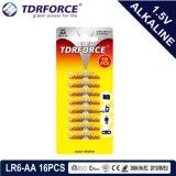 Piles alcalines Batterie sèche avec la CE a approuvé pour l'Toy 16pcs (LR6-AA taille)