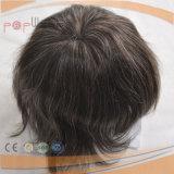 회색 색깔 사람의 모발 손에 의하여 묶이는 남자의 Toupee (PPG-l-0709)