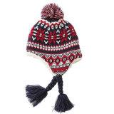 耳を搭載する暖かい冬の女性の帽子は雪のスキー厚いニットの帽子の帽子の帽子をはためかす