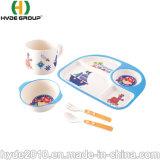고품질 Eco Composable 대나무 섬유 아기 고정되는 아이 컵 사발 식기류 세트