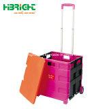 Caixa dobrável carrinho sobre rodas Caixa Carrinho de plástico 70kgs Metal Carrinho de Supermercado