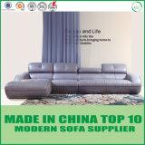 Salle de séjour moderne L sofa de cuir de coin de forme