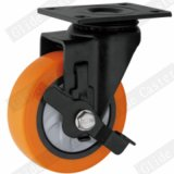 Roue à usage moyen de chasse d'émerillon d'unité centrale avec le frein latéral (orange) (roulement simple) (G3216E)