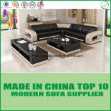 Sofà moderno del cuoio di svago della mobilia domestica con il blocco per grafici di legno
