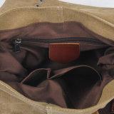 가득 차있는 털쪽을 겉으로 하여 다듬은 가죽 결박 (RS-8586B)를 가진 고품질 화포 직물 형식 어깨에 매는 가방