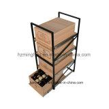 Cadre en bois d'étage à coulisse glissant la crémaillère d'aménagement de caisse de vin de mémoire