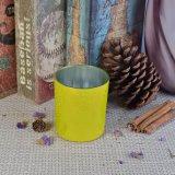 Supporti di candela di vetro della decorazione Crack gialla della lacca del cilindro