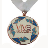 Medaille van het Voetbal van het Metaal van het Email van het messing de Zachte met Wit Sleutelkoord