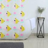 La novedad ecológica cortina de ducha PEVA diseño impreso con las ranas amarillo