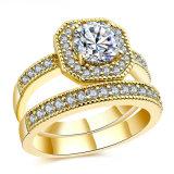 925 Plata Esterlina zirconia cúbico Anillo de moda joyas joyería anillo chapado en oro amarillo