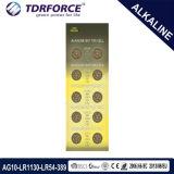 1.5V 0.00% Batterij van de Cel van de Knoop van het Kwik Vrije Alkalische voor Horloge (AG5/LR48/LR754)
