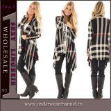 As mulheres elegantes do OEM & do ODM fizeram malha o casaco de lã da camisola do algodão