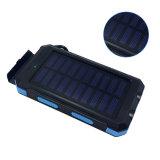 Wasserdichte Bank der Sonnenenergie-10000mAh Doppel-Energien-Bank USB-Chargerbattery mit Licht des Kompass-LED für intelligenten Handy