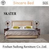 현대 미국식 직물 침대 가죽 침실 침대